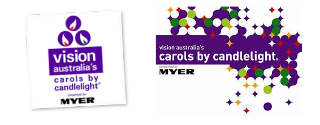 Vision Australia's Carols by Candlelight logo from last year (2011) and this year (2012)