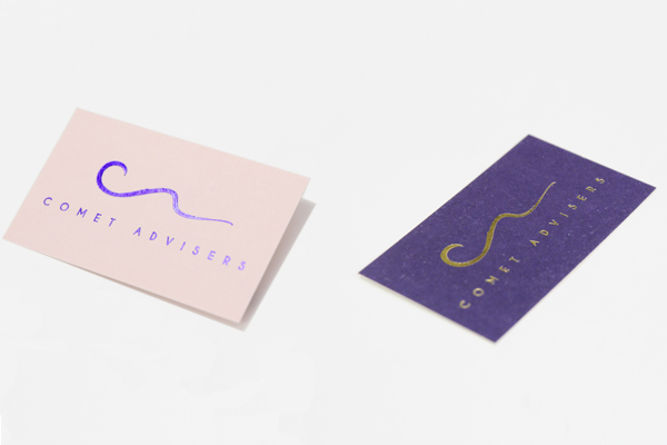 Blue foil and gold foil business cards