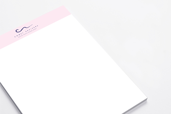 Letterhead design for Comet Advisers in Brighton
