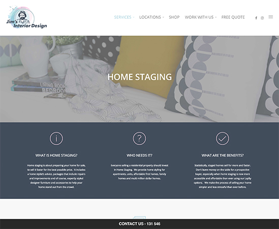 A snippet of the Jim's Interior Design website