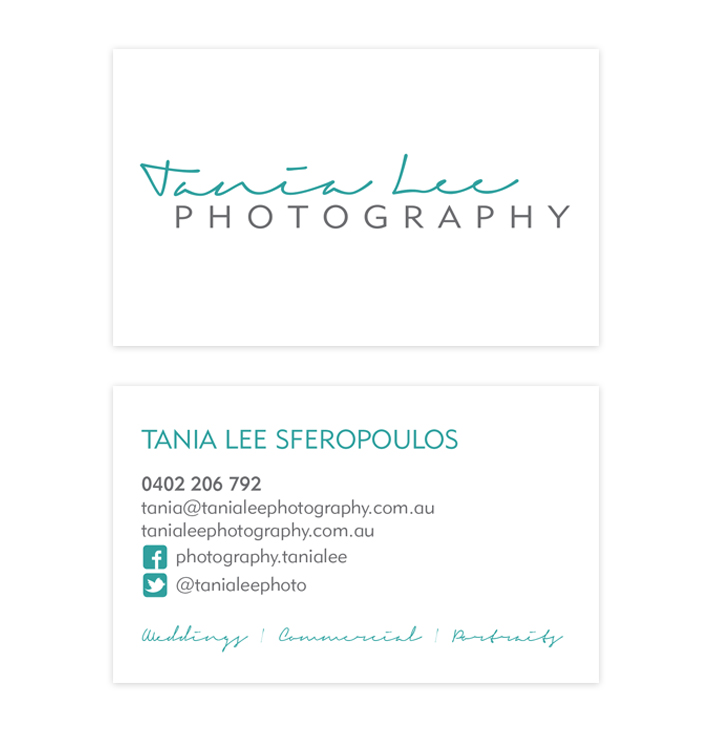 Simple and to the point. Business card design for Tania Lee Photography