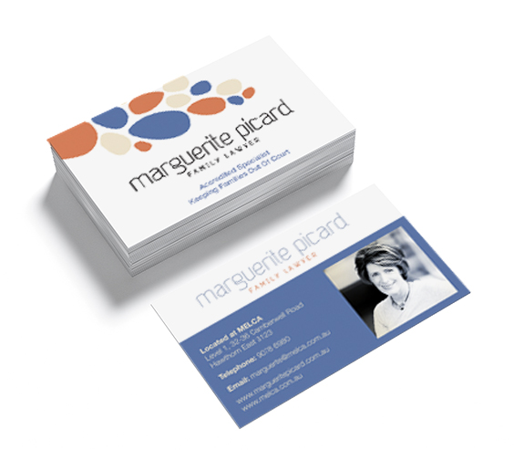 Clean typography and font choice for Marguerite Picard Family Lawyer business cards
