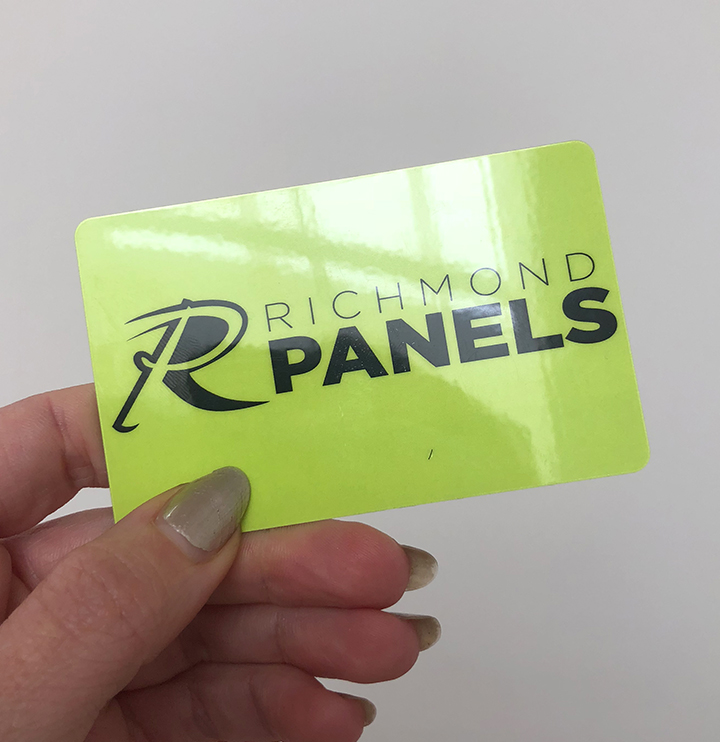 High gloss plastic business card printing for Richmond Panels