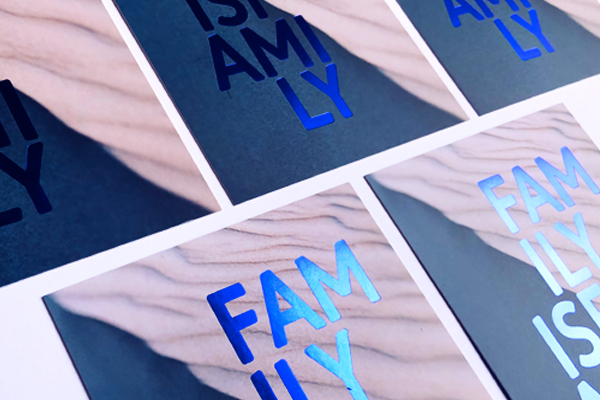 blue foil invitation